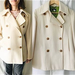 J Crew Winter White Wool Pea Jacket Size Small